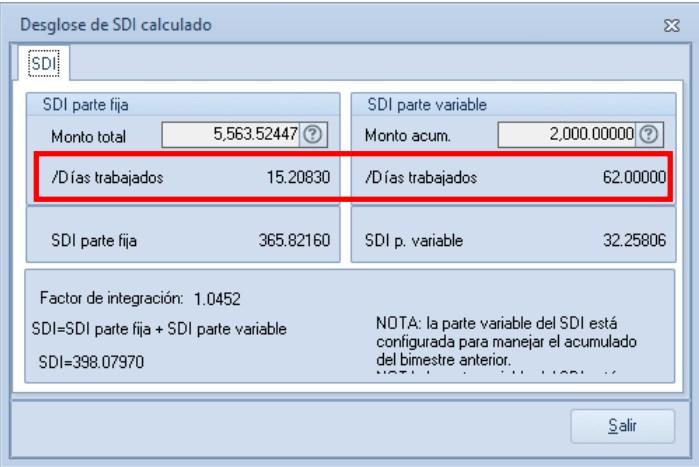 ventana de SDI con actualización
