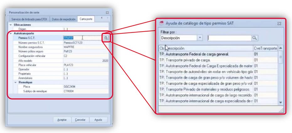 11 Usando el catálogo precargado para capturar el permiso SCT de autotransporte