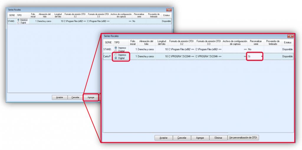 Fig. 5 Agregando una Serie Fiscal para el documento Carta Porte de tipo Digital y Personalizada