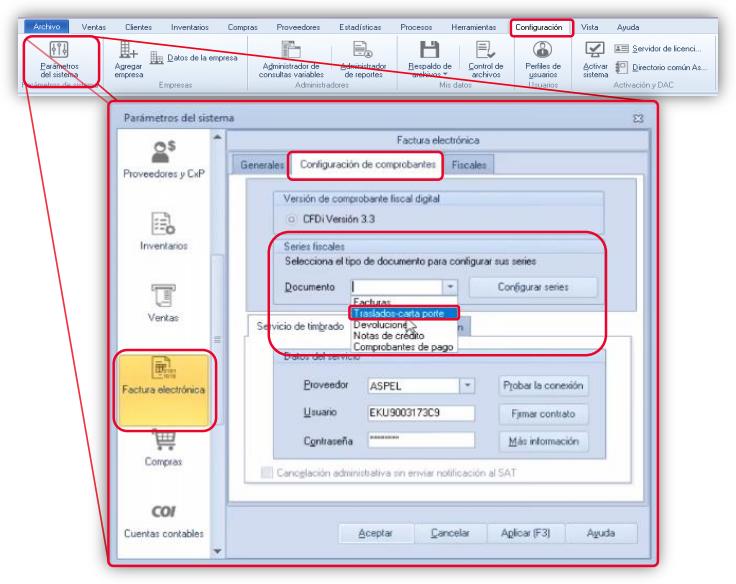 Fig. 3 Parámetros del sistema/ Factura electrónica/ Configuración de Comprobantes/ Series Fiscales.